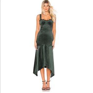 NWT KARINA GRIMALDI Irma Velvet Dress Emerald